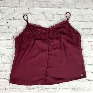 Guess Burgundy Lace Crop Top size M
